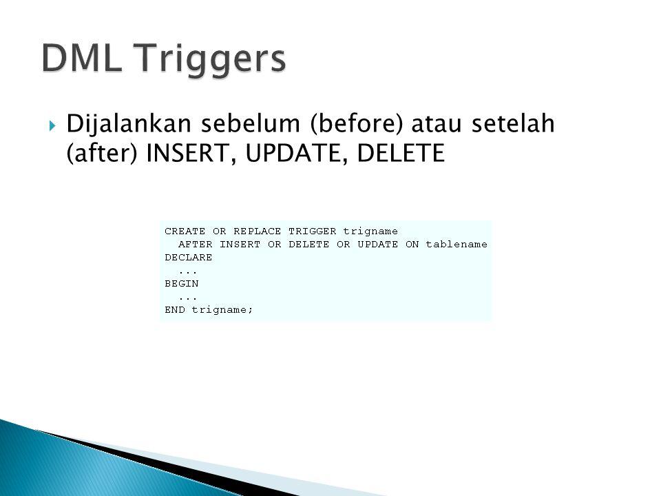 DML Triggers Dijalankan sebelum (before) atau setelah (after) INSERT, UPDATE, DELETE