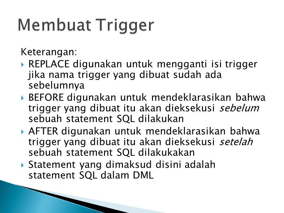 Membuat Trigger Keterangan: