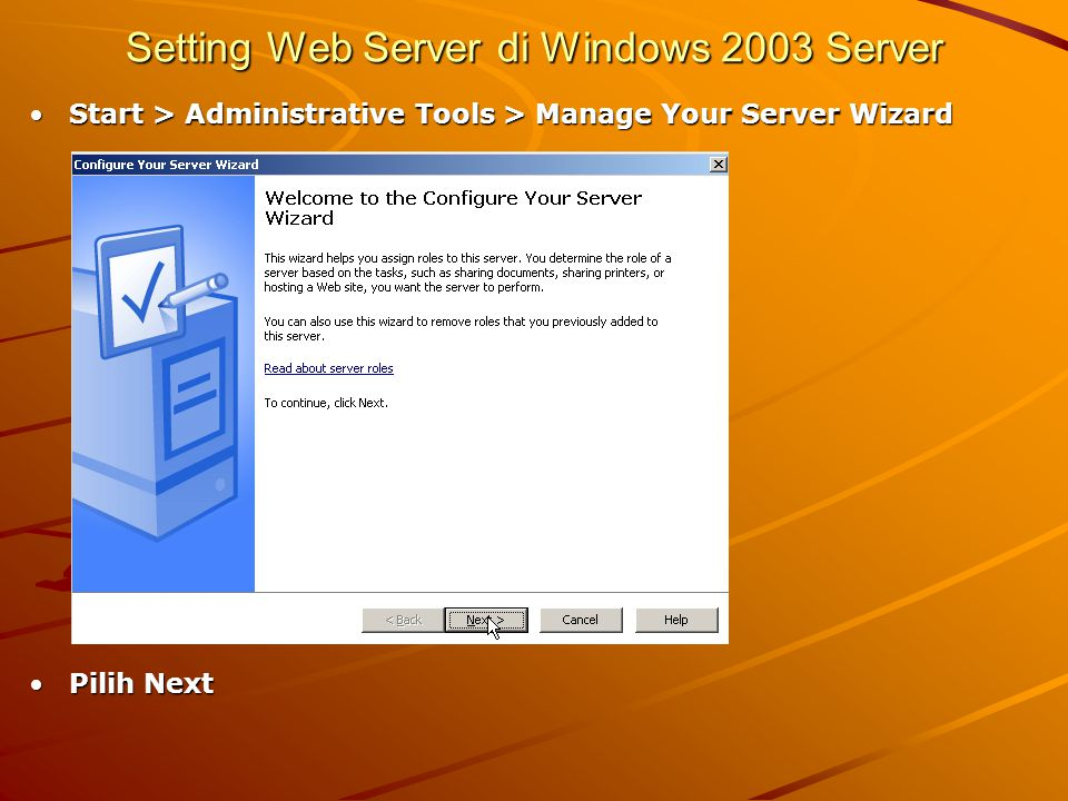 Setting Web Server di Windows 2003 Server
