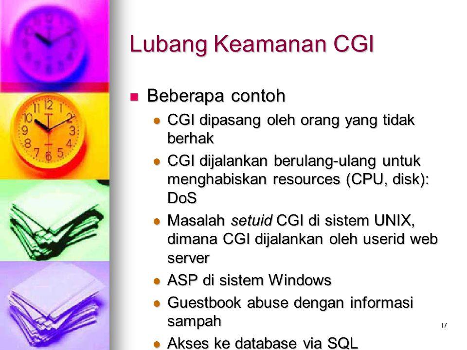 Lubang Keamanan CGI Beberapa contoh
