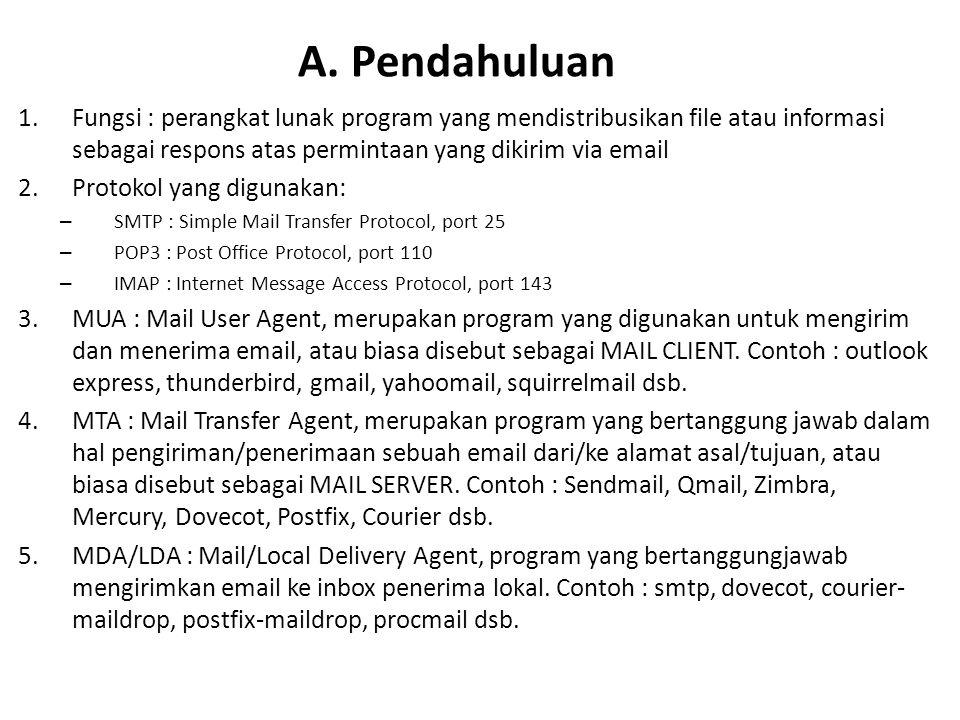 A. Pendahuluan Fungsi : perangkat lunak program yang mendistribusikan file atau informasi sebagai respons atas permintaan yang dikirim via email.
