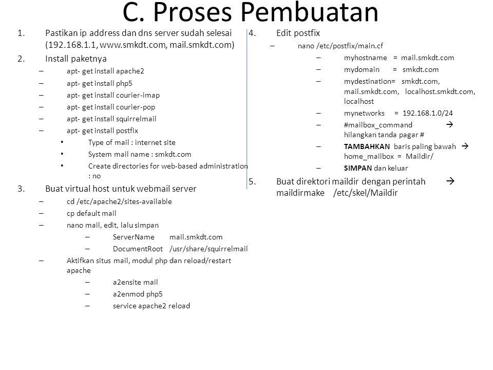C. Proses Pembuatan Pastikan ip address dan dns server sudah selesai (192.168.1.1, www.smkdt.com, mail.smkdt.com)