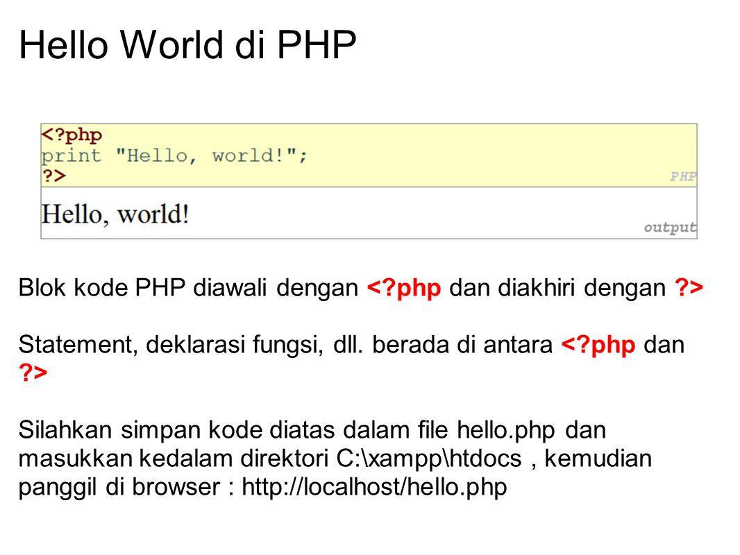 Hello World di PHP Blok kode PHP diawali dengan < php dan diakhiri dengan > Statement, deklarasi fungsi, dll. berada di antara < php dan >