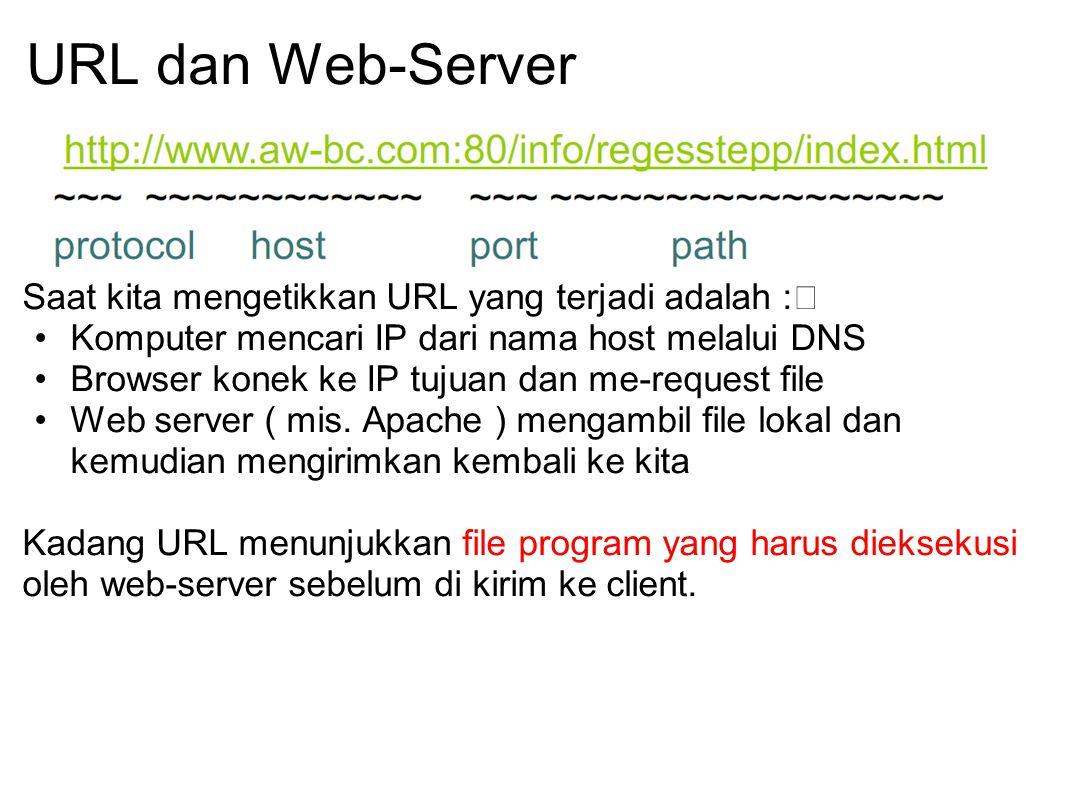 URL dan Web-Server Saat kita mengetikkan URL yang terjadi adalah :