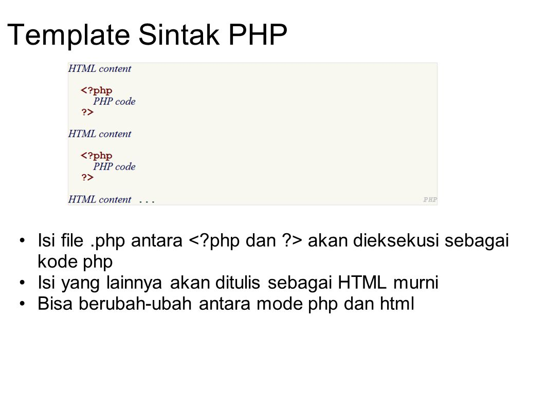 Template Sintak PHP Isi file .php antara < php dan > akan dieksekusi sebagai kode php. Isi yang lainnya akan ditulis sebagai HTML murni.