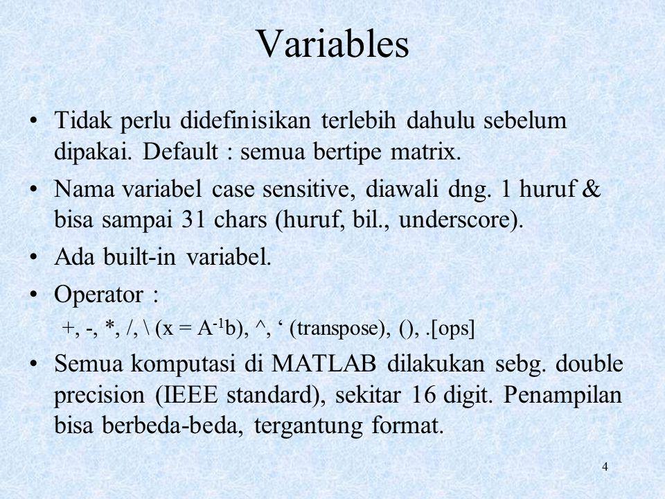 Variables Tidak perlu didefinisikan terlebih dahulu sebelum dipakai. Default : semua bertipe matrix.