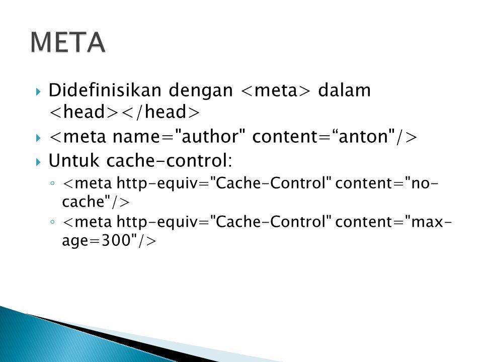 META Didefinisikan dengan <meta> dalam <head></head>