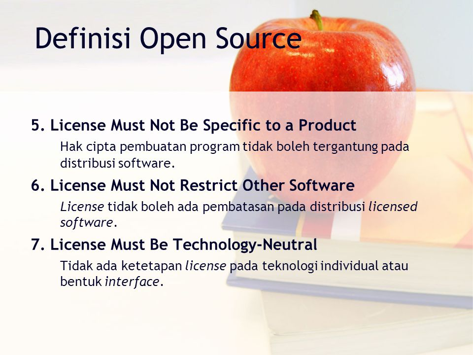 Definisi Open Source 5. License Must Not Be Specific to a Product