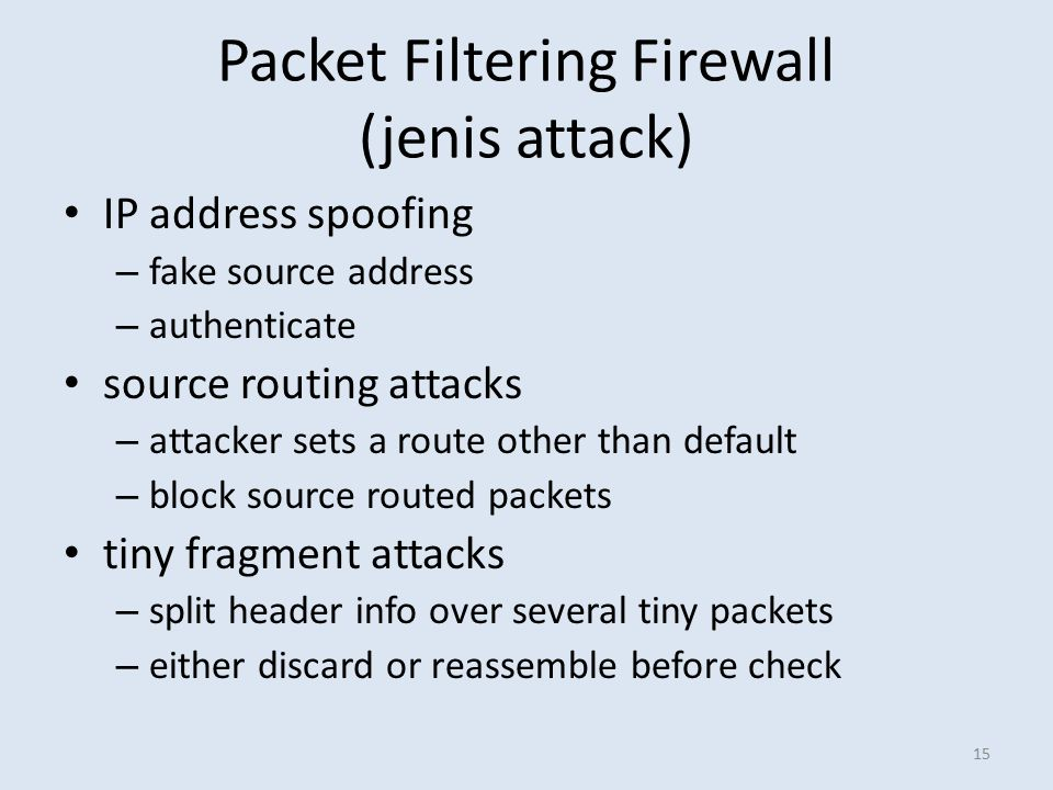 Packet Filtering Firewall (jenis attack)