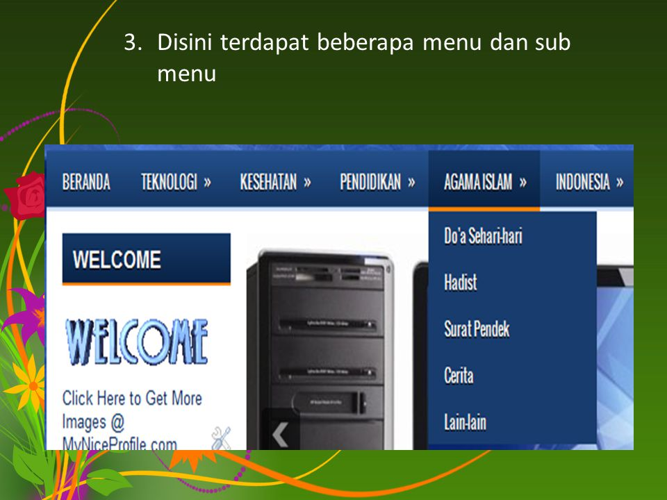 Disini terdapat beberapa menu dan sub menu