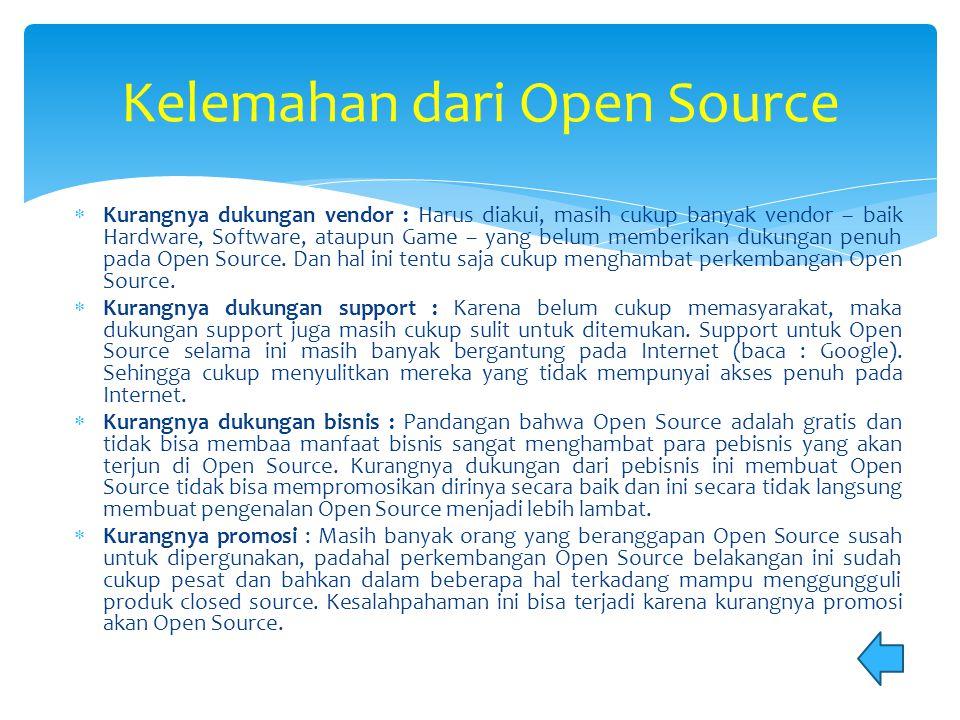 Kelemahan dari Open Source