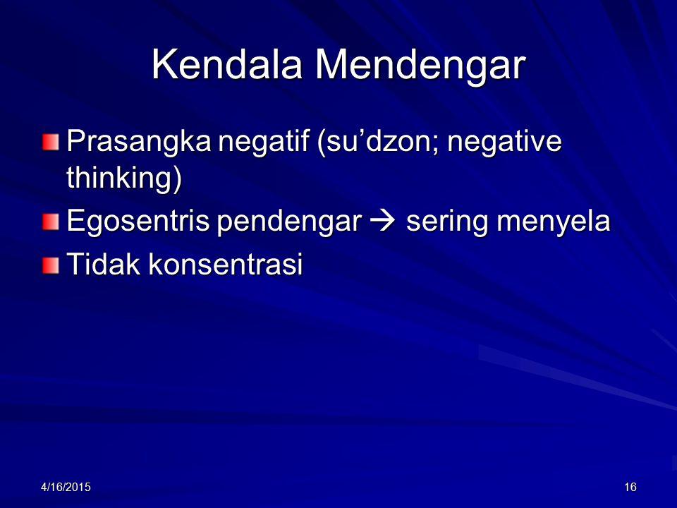 Kendala Mendengar Prasangka negatif (su'dzon; negative thinking)