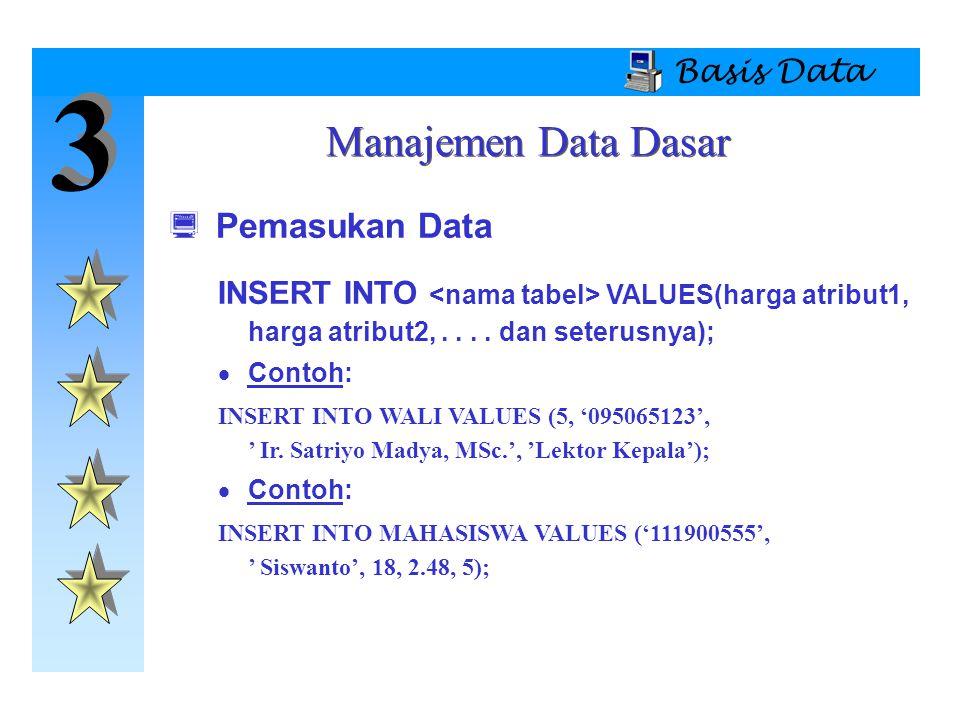 3 Manajemen Data Dasar Pemasukan Data Basis Data