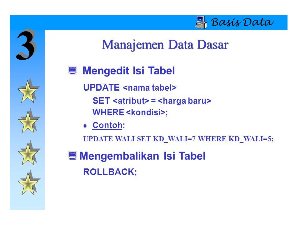 3 Manajemen Data Dasar Mengedit Isi Tabel Mengembalikan Isi Tabel