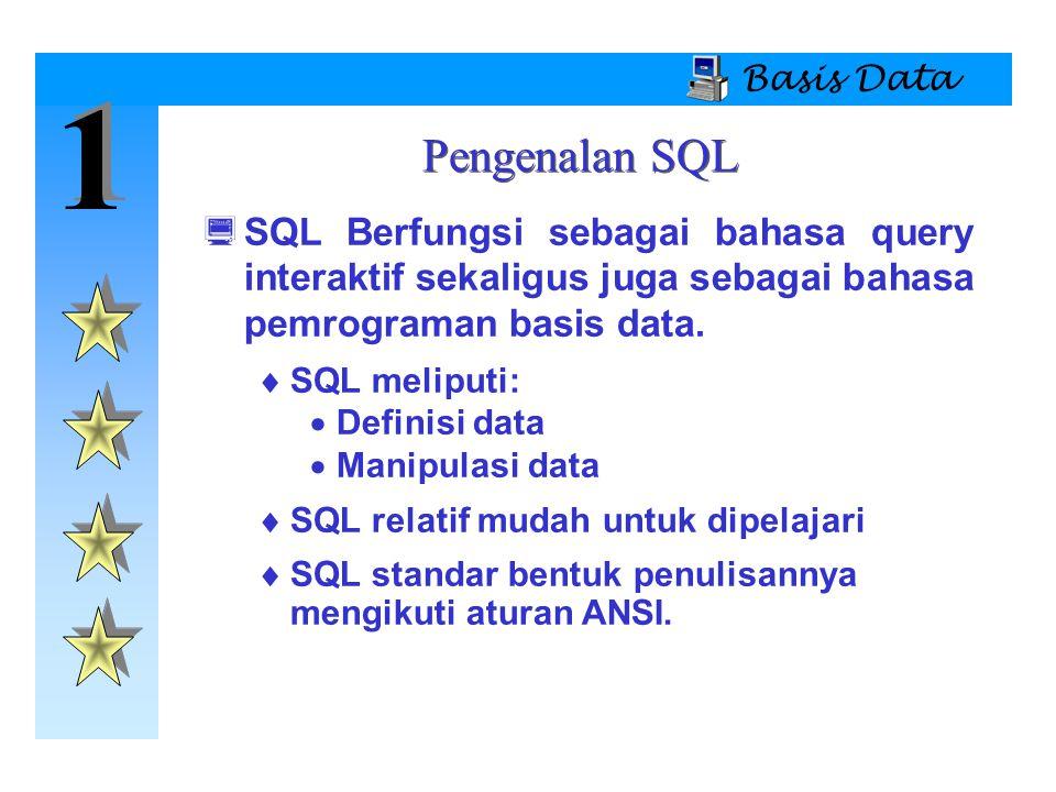 Basis Data 1. Pengenalan SQL. SQL Berfungsi sebagai bahasa query interaktif sekaligus juga sebagai bahasa pemrograman basis data.