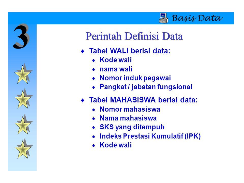 Perintah Definisi Data