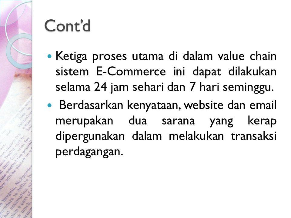 Cont'd Ketiga proses utama di dalam value chain sistem E-Commerce ini dapat dilakukan selama 24 jam sehari dan 7 hari seminggu.
