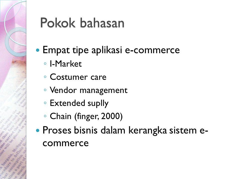 Pokok bahasan Empat tipe aplikasi e-commerce