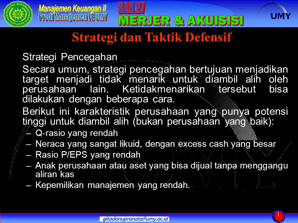 Strategi dan Taktik Defensif