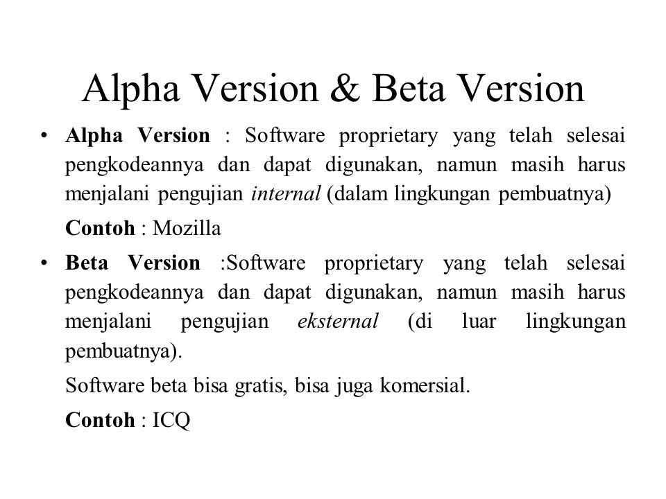 Alpha Version & Beta Version