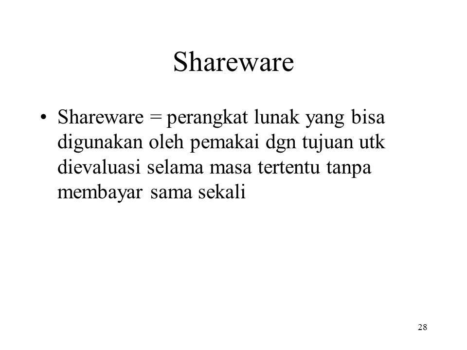 Shareware Shareware = perangkat lunak yang bisa digunakan oleh pemakai dgn tujuan utk dievaluasi selama masa tertentu tanpa membayar sama sekali.