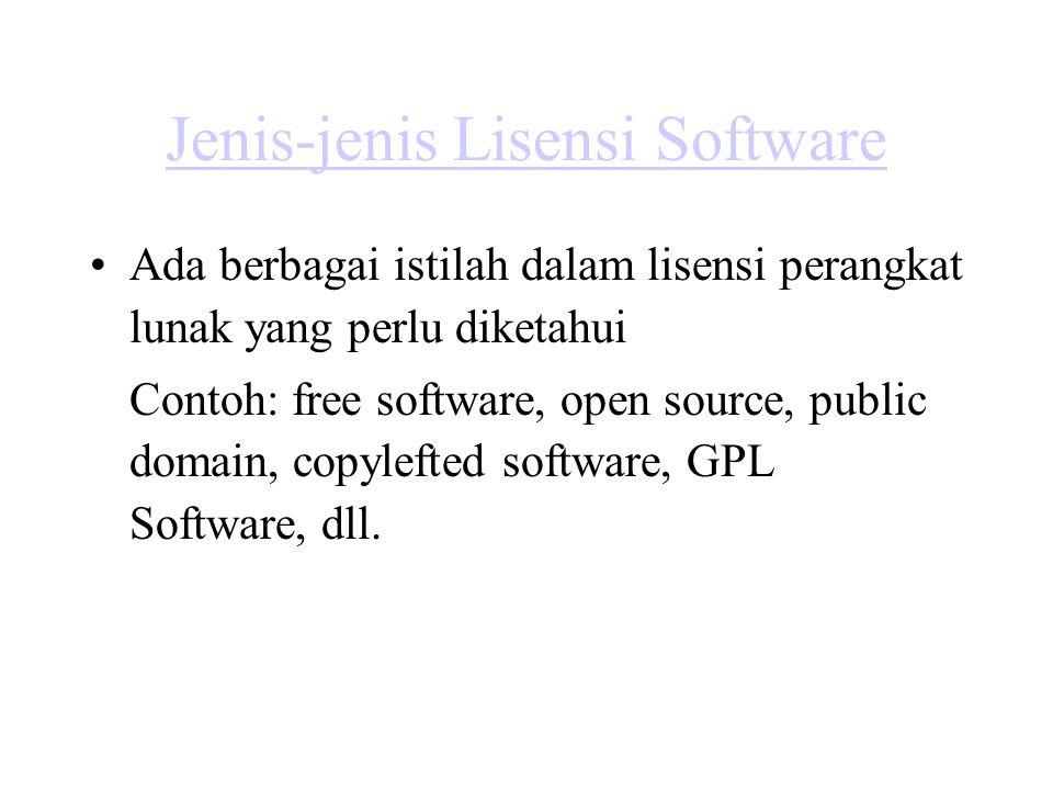 Jenis-jenis Lisensi Software