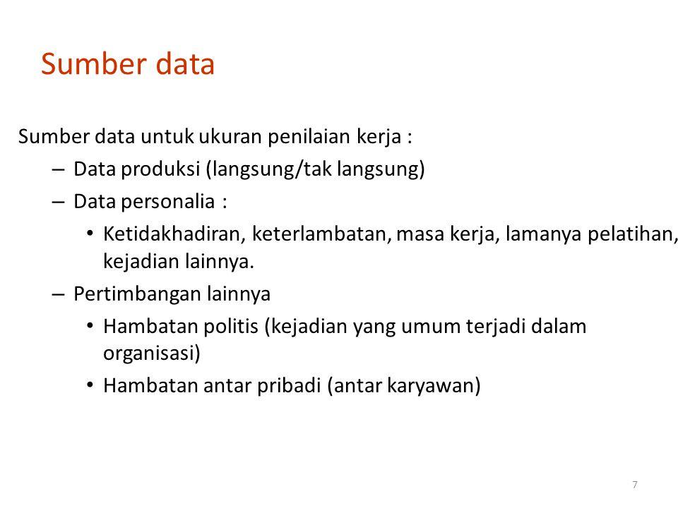 Sumber data Sumber data untuk ukuran penilaian kerja :