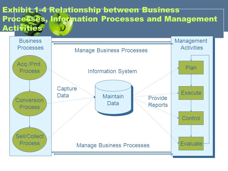 Exhibit 1-4 Relationship between Business Processes, Information Processes and Management Activities