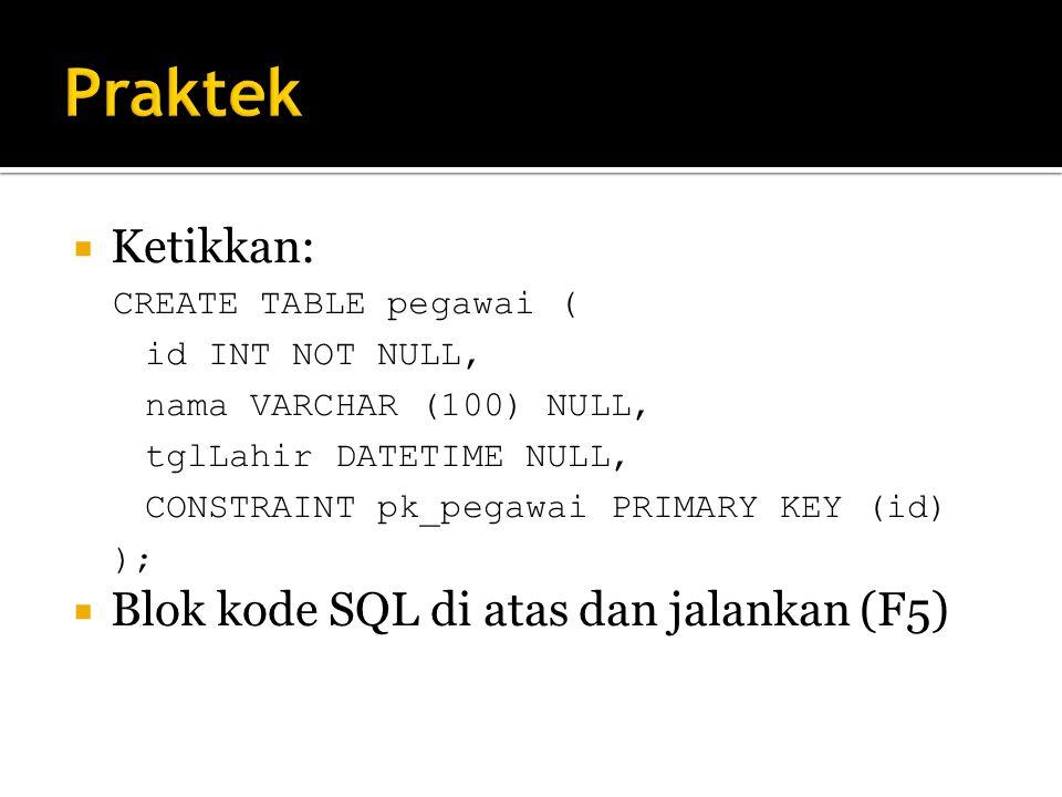 Praktek Ketikkan: Blok kode SQL di atas dan jalankan (F5)