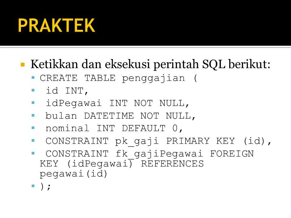PRAKTEK Ketikkan dan eksekusi perintah SQL berikut: