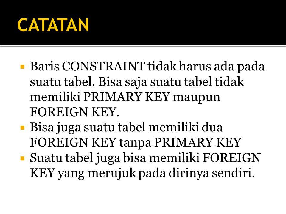 CATATAN Baris CONSTRAINT tidak harus ada pada suatu tabel. Bisa saja suatu tabel tidak memiliki PRIMARY KEY maupun FOREIGN KEY.