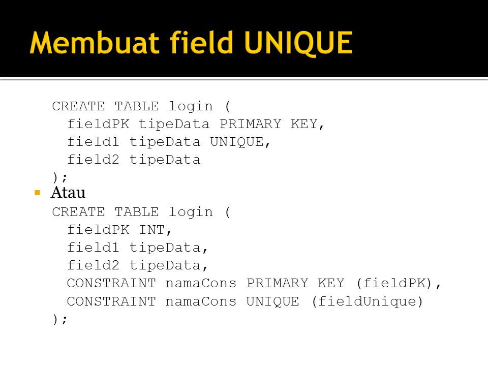 Membuat field UNIQUE Atau CREATE TABLE login (