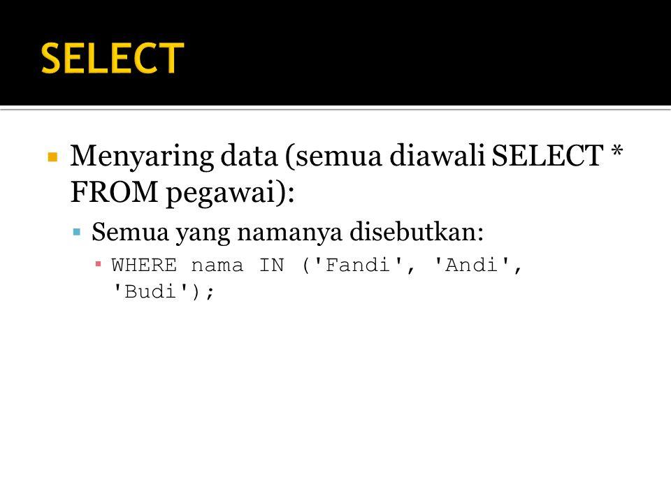 SELECT Menyaring data (semua diawali SELECT * FROM pegawai):
