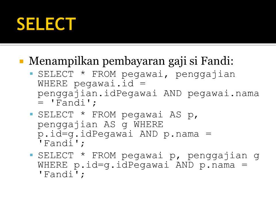 SELECT Menampilkan pembayaran gaji si Fandi: