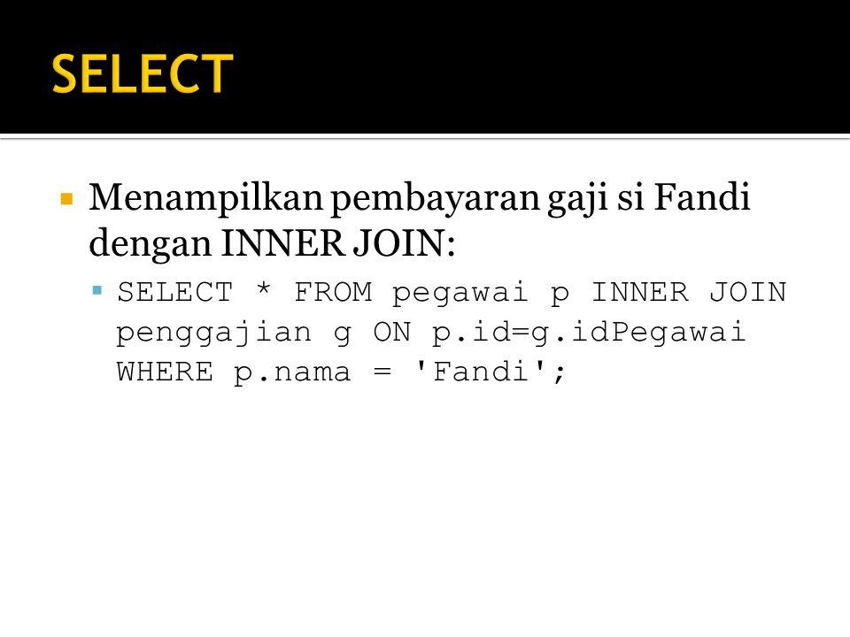 SELECT Menampilkan pembayaran gaji si Fandi dengan INNER JOIN: