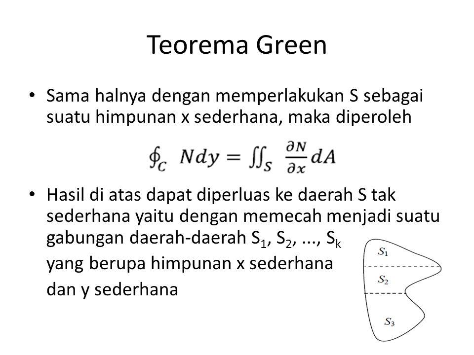 Teorema Green Sama halnya dengan memperlakukan S sebagai suatu himpunan x sederhana, maka diperoleh.