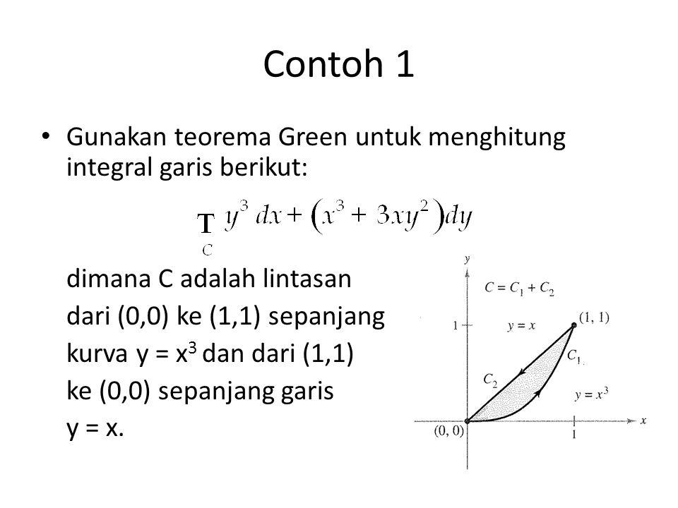 Contoh 1 Gunakan teorema Green untuk menghitung integral garis berikut: dimana C adalah lintasan. dari (0,0) ke (1,1) sepanjang.