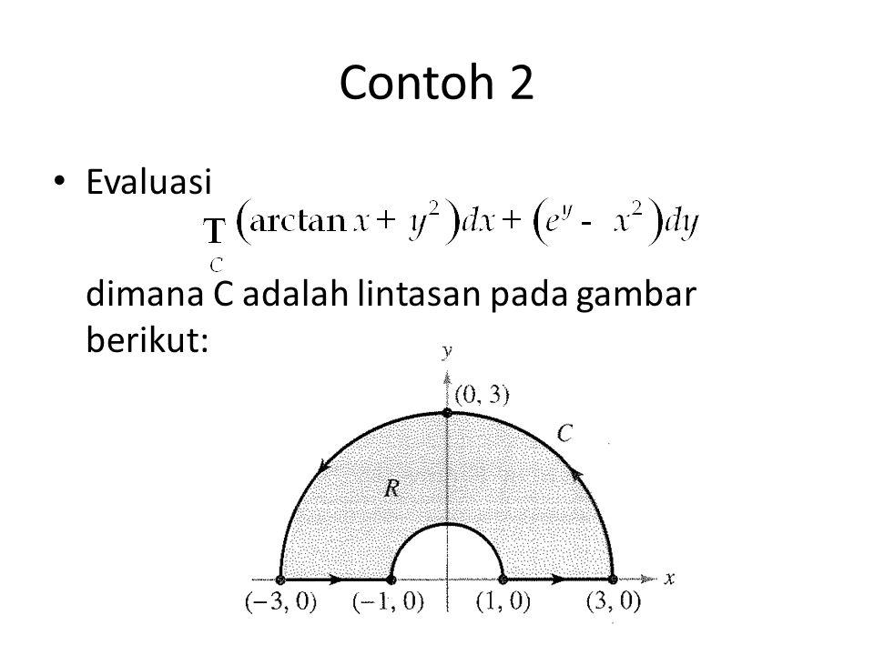 Contoh 2 Evaluasi dimana C adalah lintasan pada gambar berikut: