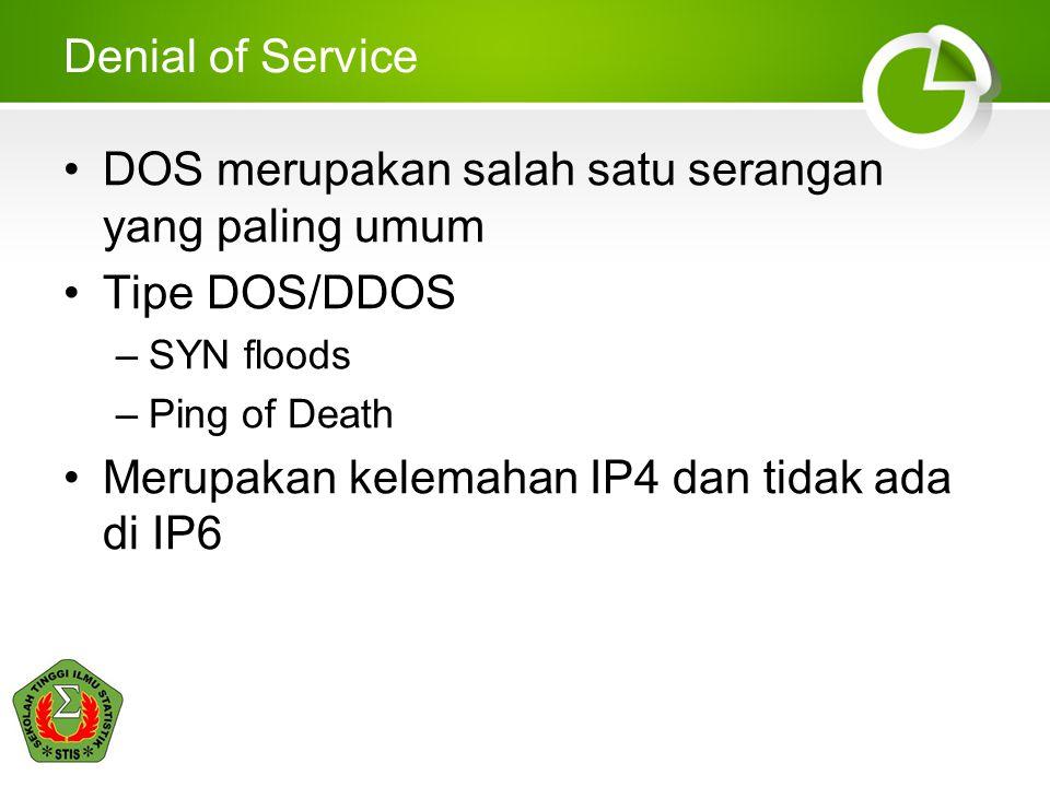 DOS merupakan salah satu serangan yang paling umum Tipe DOS/DDOS