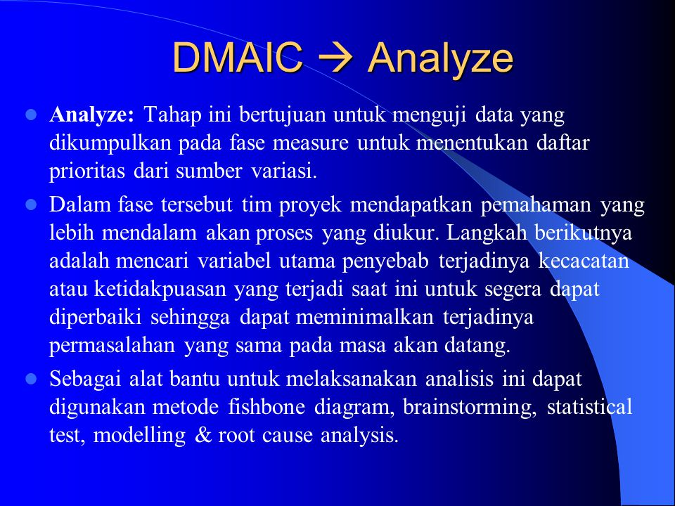 DMAIC  Analyze