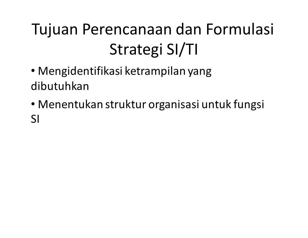 Tujuan Perencanaan dan Formulasi Strategi SI/TI