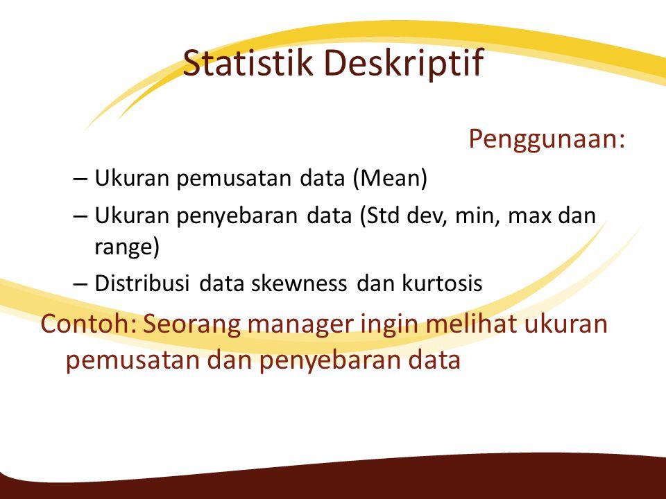 Statistik Deskriptif Penggunaan: