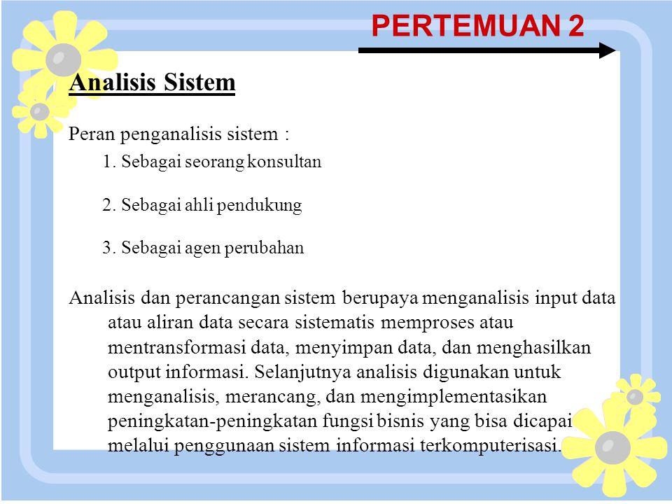 PERTEMUAN 2 Analisis Sistem Peran penganalisis sistem :