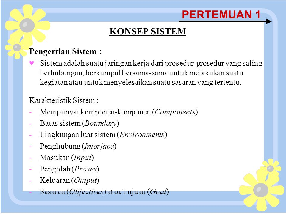 PERTEMUAN 1 KONSEP SISTEM Pengertian Sistem :