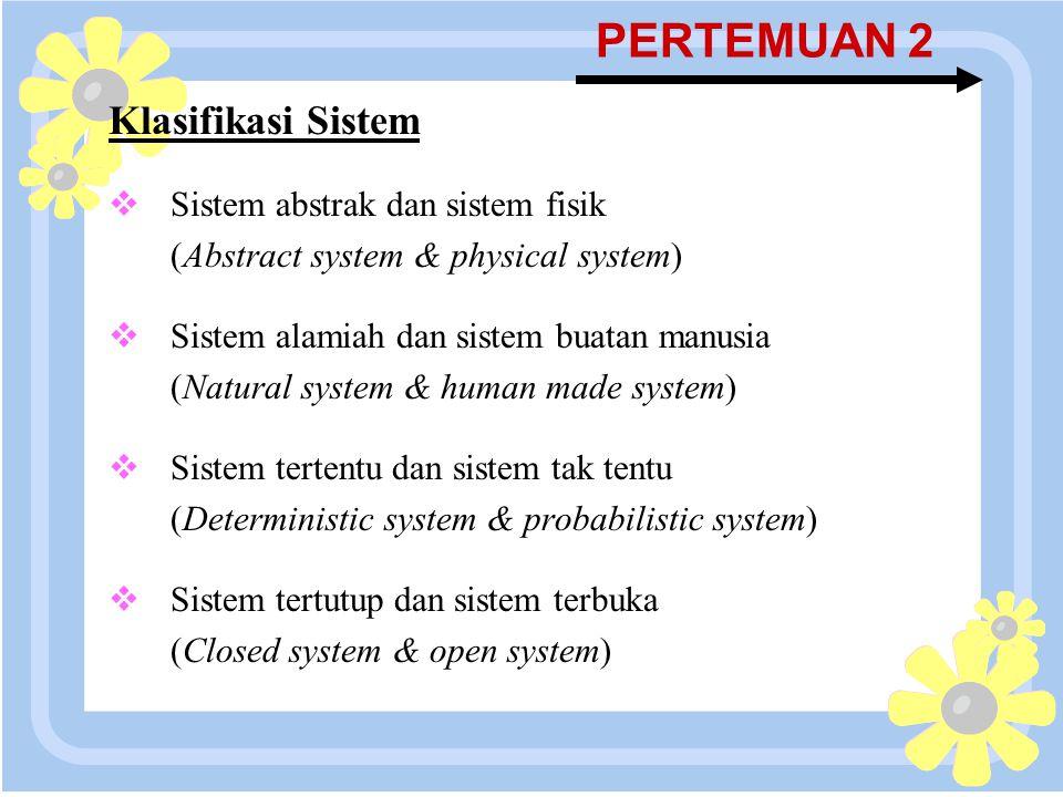 PERTEMUAN 2 Klasifikasi Sistem Sistem abstrak dan sistem fisik
