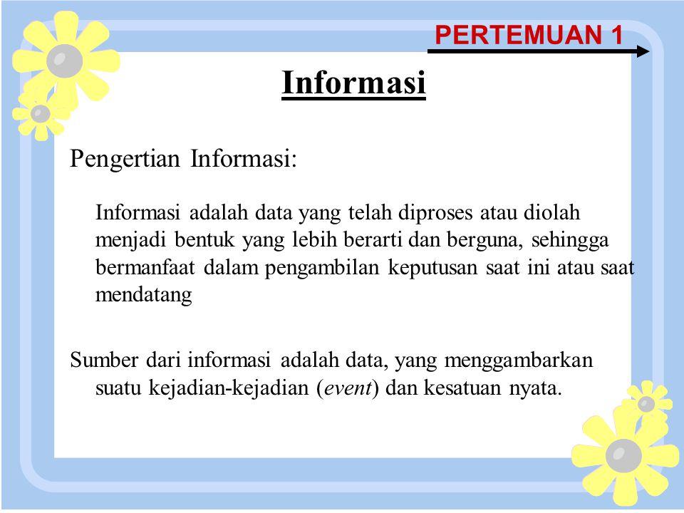 Informasi PERTEMUAN 1 Pengertian Informasi: