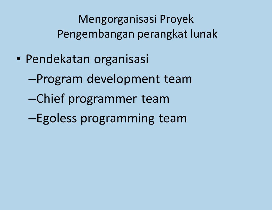 Mengorganisasi Proyek Pengembangan perangkat lunak