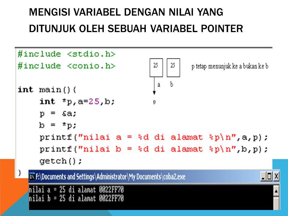 Mengisi variabel dengan nilai yang ditunjuk oleh sebuah variabel pointer