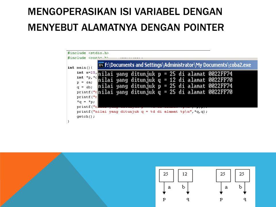 Mengoperasikan isi variabel dengan menyebut alamatnya dengan pointer
