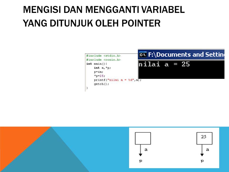 Mengisi dan mengganti variabel yang ditunjuk oleh pointer